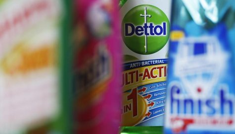 Products produced by Reckitt Benckiser; Harpic, Vanish, Dettol and Finish, are seen in London February 12, 2008. REUTERS/Stephen Hird
