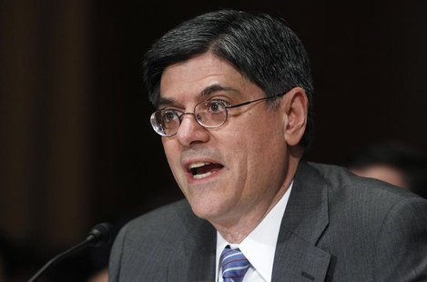 Jack Lew, U.S. President Barack Obama's nominee to lead the Treasury Department, testifies before a Senate Finance Committee confirmation he