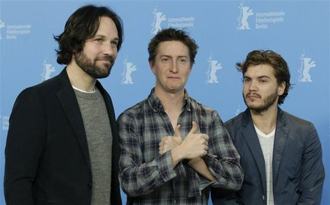 "Director David Gordon Green (C), and actors Paul Rudd (L) and Emile Hirsch pose during a photocall to promote the movie ""Prince Avalanche"" a"