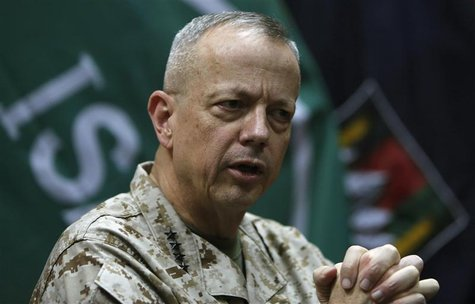 General John Allen, the commander of U.S. and NATO forces in Afghanistan, speaks during an interview in Kabul February 9, 2013. REUTERS/Moha