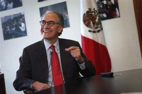 Herminio Blanco, Mexican candidate to head the World Trade Organization (WTO), smiles during an interview with Reuters in Mexico City Februa