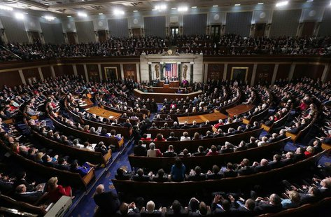 U.S. President Barack Obama delivers his State of the Union speech on Capitol Hill in Washington, February 12, 2013. REUTERS/Kevin Lamarque