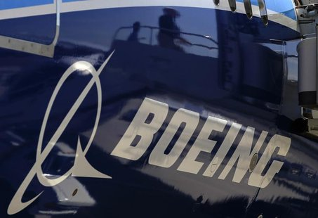 The Boeing logo is seen on a Boeing 787 Dreamliner airplane in Long Beach, California March 14, 2012. REUTERS/Lucy Nicholson