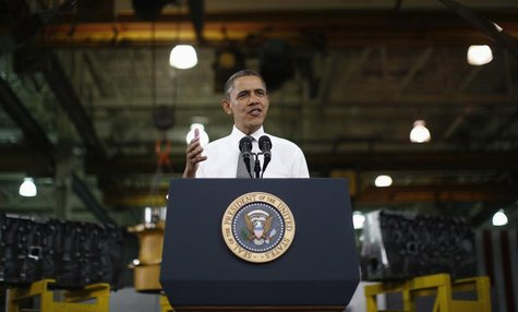 U.S. President Barack Obama delivers remarks on the economy after touring Linamar Corporation that manufactures parts for the truck industry