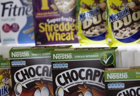 Packets of Nestle cereals are pictured at the Innovation Center of Cereal Partners Worldwide (CPW), a General Mills' joint venture with Nest