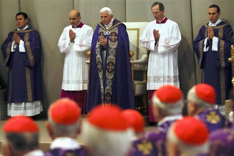 Pope Benedict XVI attends Ash Wednesday mass at the Vatican February 13, 2013. Thousands of people are expected to gather in the Vatican for