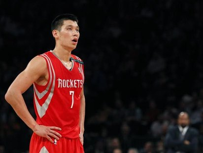 Houston Rockets point guard Jeremy Lin looks on against the New York Knicks in the second quarter of their NBA basketball game at Madison Sq