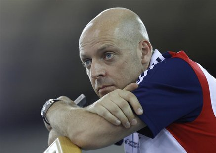Team Britain cycling performance director David Brailsford attends the UCI Track Cycling World Cup at the Olympic Velodrome in London Februa