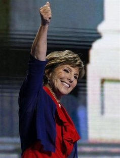 Senator Barbara Boxer (D-CA) waves onstage while addressing the second session of the Democratic National Convention in Charlotte, North Car