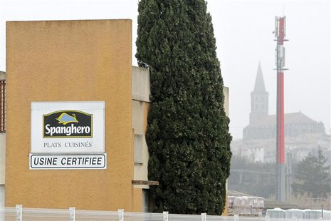 A sign with the Spanghero logo is seen at their head office in Castelnaudary, Southwestern France, February 14, 2013. An initial French inve
