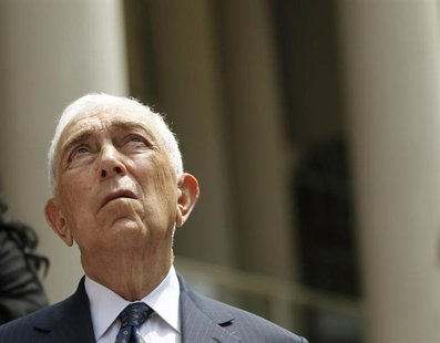 Senator Frank Lautenberg (D-NJ) looks up as he announces new legislation with regards to online and mail-order sale of ammunition at City Ha
