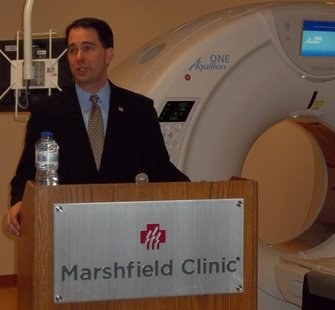 Governor Scott Walker at Marshfield Clinic, Marshfield WI.