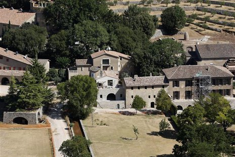 An aerial view of the 17th-century Chateau Miraval, the $60 million estate which is owned by actors Brad Pitt and Angelina Jolie, is seen in