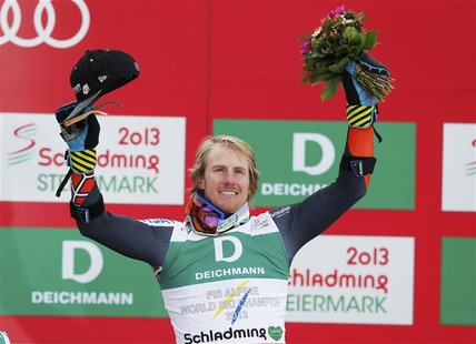 First placed Ted Ligety of the U.S. celebrates on the podium during the flower ceremony after the men's Giant Slalom race at the World Alpin