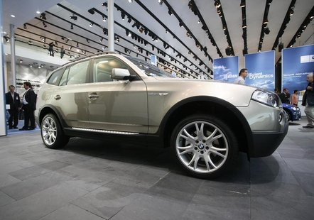 The X5 all terrain car of German carmaker BMW is on display at the international car show IAA in Frankfurt September 12, 2007. REUTERS/Chris