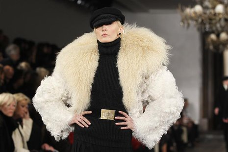 A model presents a creation from the Ralph Lauren Autumn/Winter 2013 collection during New York Fashion Week, February 14, 2013. REUTERS/Luc