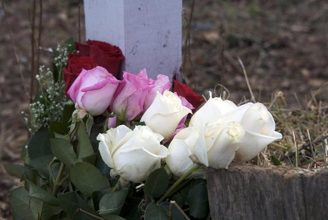 Roses are seen at the entrance to Sandy Hook Elementary School in Newtown, Connecticut January 14, 2013, on the one-month anniversary of the