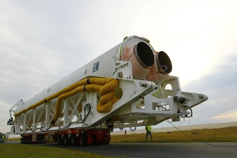 Orbital Sciences Corporation's Antares rocket rolls out to the launch pad at NASA?s Wallops Flight Facility on Wallops Island, Virginia Octo