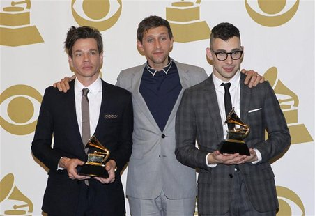 "Members of the band Fun pose with their awards for Song of the Year ""We Are Young"" and Best New Artist, backstage at the 55th annual Grammy"