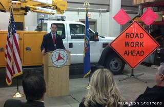 Gov. Scott Walker announces plans to include money for transportation in the state budget Feb. 15, 2013, at the Department of Transportation office in Ashwaubenon. (courtesy of FOX 11).