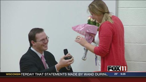 McAuliffe Elementary School teacher Kristin Zimmerman getting a surprise proposal during assembly on Feb. 14, 2013.