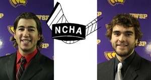 UW Stevens Point Hockey:   Left-Junior forward Kyle Heck, Right-Freshman defenseman Alex Brooks Image courtesy UWSP Athletic Department