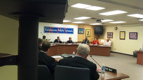 Kalamazoo School Board convenes, a view from the side.