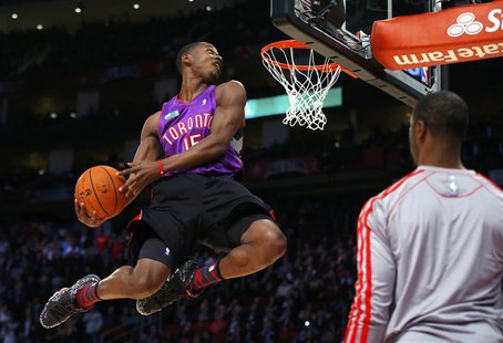 East All-Star Terrence Ross of the Toronto Raptors competes in the slam dunk contest during the NBA basketball All-Star weekend in Houston,