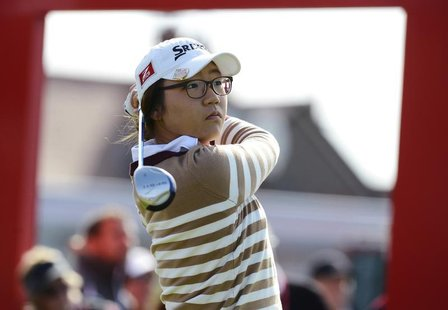 Lydia Ko of New Zealand plays her tee shot on the first hole during the second round of the British Women's Open Golf tournament at Royal Li