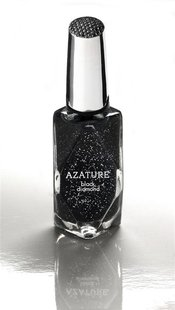 A bottle of nail polish by Azature, containing small, full cut diamonds, is shown in this handout photo released by Azature to Reuters Febru
