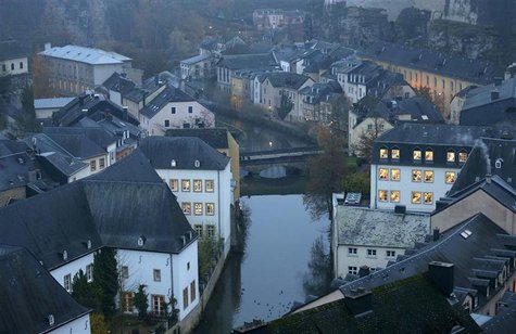 The Petrusse river is seen in this general view of the city of Luxembourg in this November 20, 2012 file picture. To match INSIGHT TAX-CONTE