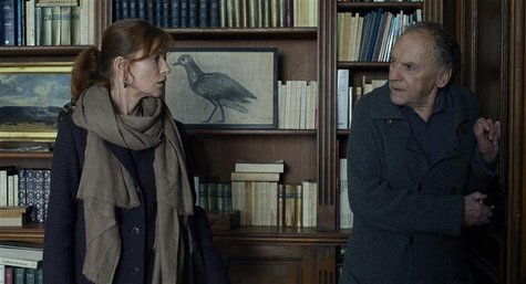 "Actors Isabelle Huppert (L) and Jean-Louis Trintignant are shown in a scene from the Austrian film ""Amour"" in this publicity photo released"
