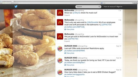 Burger King's Twitter account shows hacking activity before the account was suspended by Twitter in this screen grab taken on February 18, 2