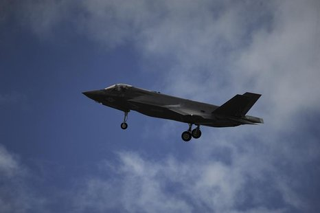 A F-35B Lightning II joint strike fighter from the Marine Fighter Attack Training Squadron 501 prepares to land at Eglin Air Force Base, Flo