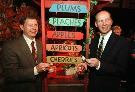 File photo of Chairman of The J.M. Smucker Company, Tim (L) and CEO Richard (R) both greatgrandsons of the company's founder Jerome M. Smuck
