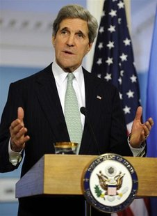 U.S. Secretary of State John Kerry makes remarks to the media before a bilateral meeting with UN Secretary General Ban Ki-moon at the State