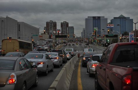 Commuters arrive at Holland Tunnel to drive into New York from Jersey City, New Jersey November 7, 2012, in the aftermath of Hurricane Sandy
