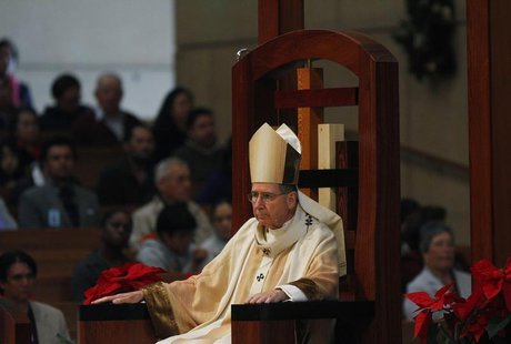 Cardinal Mahony, the Archbishop of Los Angeles Archdiocese, attends Holy Mass during Christmas at Cathedral of Our Lady of the Angels in Los