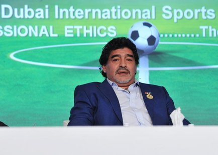 Argentine former soccer star Diego Maradona attends the final session of the first day of the seventh Dubai International Sports Conference
