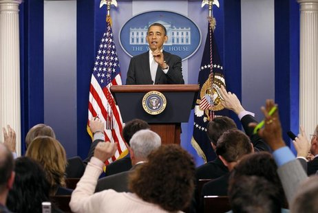 U.S. President Barack Obama takes questions from members of the media in the White House Briefing Room December 19, 2012. REUTERS/Kevin Lama