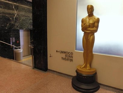 A large Oscar statue stands in the hallway at The Academy of Motion Picture Arts & Sciences Pickford Center for Motion Picture Study in Holl