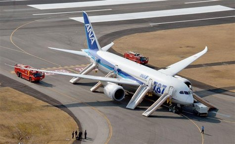 An All Nippon Airways (ANA) Boeing 787 Dreamliner is seen after making an emergency landing at Takamatsu airport in western Japan January 16