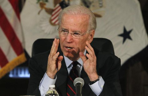 U.S. Vice President Joe Biden makes remarks during roundtable discussion on gun control at Girard College in Philadelphia, Pennsylvania, Feb