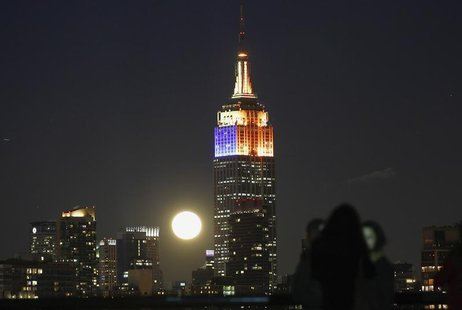 A full moon rises behind the Empire State Building and the skyline of New York, as people watch from a park along the Hudson River in Hoboke