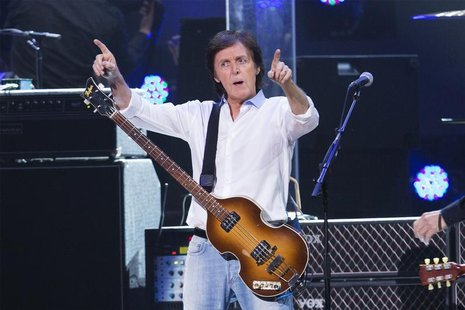 "Musician Paul McCartney performs during the ""12-12-12"" benefit concert for victims of Superstorm Sandy at Madison Square Garden in New York,"