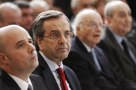 "Greece's Prime Minister Antonis Samaras (2nd L) attends the ""Initiative Against the Crisis"" news conference by Stavros Niarchos foundation a"