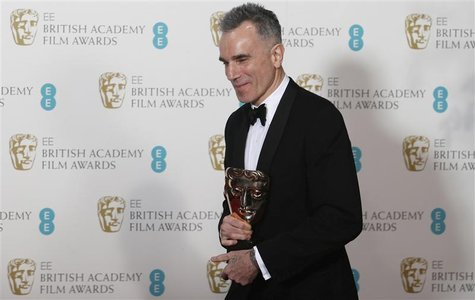 "Daniel Day-Lewis celebrates after winning the Best Actor award for ""Lincoln"" at the British Academy of Film and Arts (BAFTA) awards ceremony"