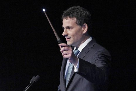 David Einhorn, president of Greenlight Capital, holds a toy wand as part of a joke during the Sohn Investment Conference in New York, May 16