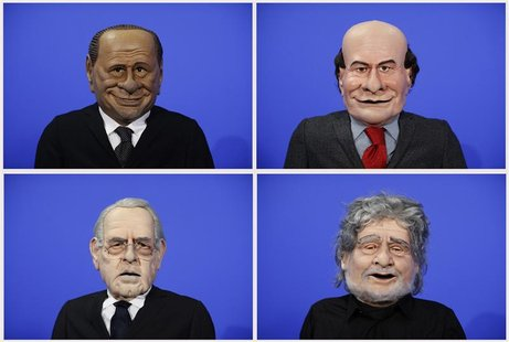A combination photo shows puppets of Italian politicians (clockwise, from L to R) Silvio Berlusconi, Pier Luigi Bersani, Beppe Grillo, Mario
