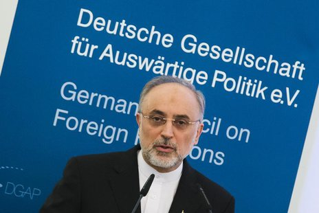 Iran's Foreign Minister Ali Akbar Salehi delivers a speech at the German Council on Foreign Relations in Berlin February 4, 2013. REUTERS/Th